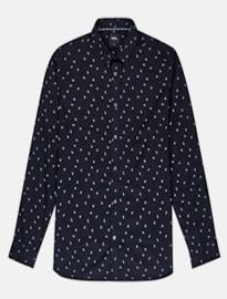Burton camisa negra de manga larga con estampado geométrico azul