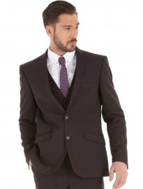 Burton 3 Piece Brown Herringbone Slim Fit Suit