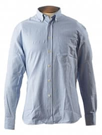 Garment Washed Sky Blue & White Striped Shirt