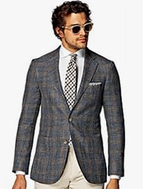 Suitsupply Havana Blue Check Linen Silk Wool