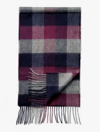 Navy Check Cashmere And Merino Scarf