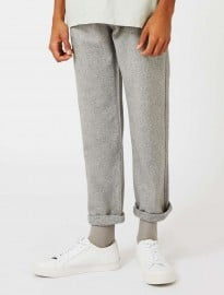 Topman Topman Premium Grey Wool Blend Straight Leg Chinos