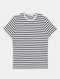 Topman White And Navy Striped T-shirt