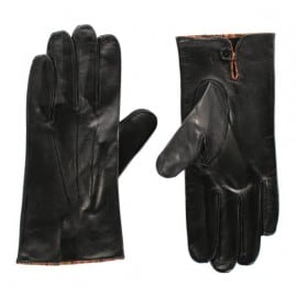 Paul Smith Accessories Mens Vintage Multistripe Piping Black Leather Driving Gloves