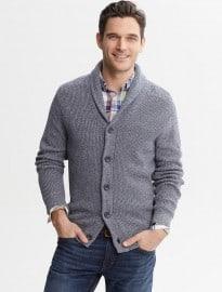 Textured Shawl-collar Cardigan