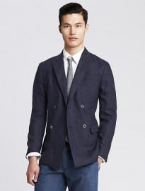 Modern Slim Navy Linen Double-breasted Blazer
