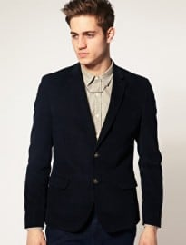 Asos Slim Fit Cord Blazer In Navy