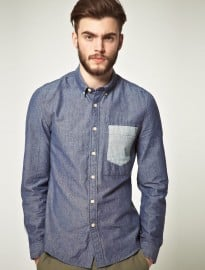 Asos Contrast Pocket Chambray Shirt