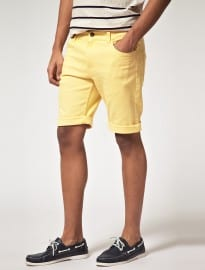 Asos Denim Short In Yellow