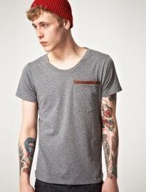 Izzue Leather Trim Pocket Crew Neck T-shirt