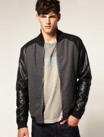 Asos Faux Leather Sleeve Baseball Jacket