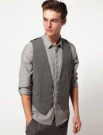 Asos Waistcoat In Grey
