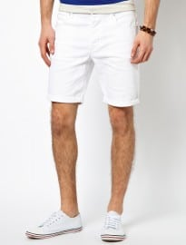 Mens White Skinny Shorts