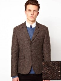 Asos Slim Fit Tweed Blazer With Shooting Patch