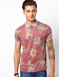Asos Polo With Red Hawaiian Print