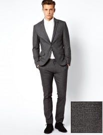 Esprit Skinny Fit Suit With Fleck Black Grey