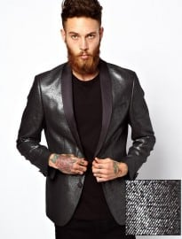 Asos Slim Fit Blazer In Silver
