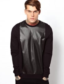 Asos Sweatshirt With Leather Look Panel
