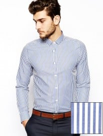 Asos Smart Shirt In Long Sleeve With Bold Stripe