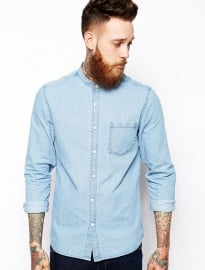 Asos Grandad Denim Shirt In Long Sleeve With Mid Wash