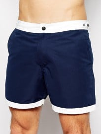 Asos Swim Shorts With Contrast Waistband And Hems In Short Length
