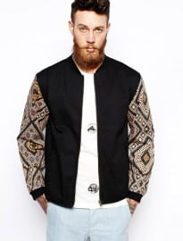 Son Of Wild Akeem Bomber Jacket With Tribal Print Sleeves