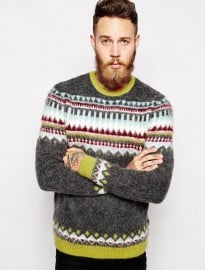 Asos Fair Isle Jumper With Mohair