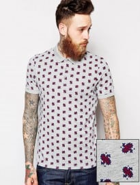 Asos Polo With Paisley Print