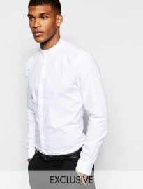 Wincer & Plant Smart Shirt With Grandad Collar Slim Fit Exclusive