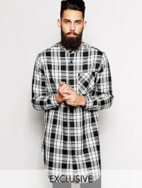 Reclaimed Vintage Extreme Longline Checked Shirt With Grandad Collar