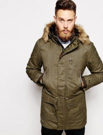 Schott Parka With Faux Fur Trim