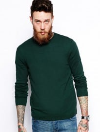 Asos Crew Neck Jumper In Cotton