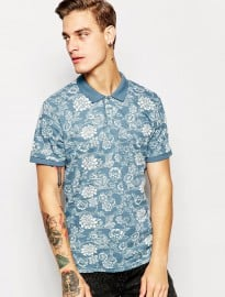 Pull&bear Polo Shirt With All Over Floral Print