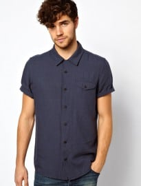 Asos Shirt In Short Sleeve With Linen Mix