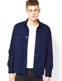 Asos Overshirt In Long Sleeve With Dark Wash