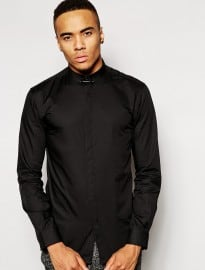 Jack & Jones Concealed Button Down Shirt With Collar Bar