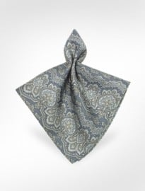 Forzieri Ken Scott Paisley Printed Silk Pocket Square