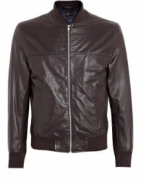 Ps Paul Smith Chocolate Soft Leather Bomber Jacket
