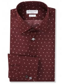 Fitted Burgundy Paisley Squiggle Shirt