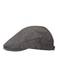 Grey Herringbone Flat Cap Grey