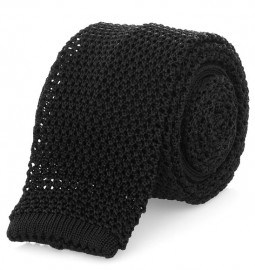 Black Knitted Silk Tie Nick Bronson